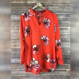 Vince Camuto Hibiscus Blooms Orange Blouse AF6